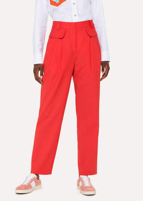 Paul Smith Women's Red Wool Pleated Pants