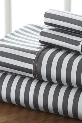 IENJOY HOME Home Spun Premium Ultra Soft Ribbon Pattern 4-Piece Full Bed Sheet Set - Gray