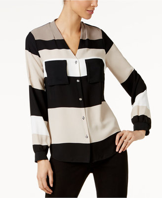 Alfani V-Neck Striped Blouse, Only at Macy's $69.50 thestylecure.com