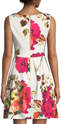 Taylor Enlarged Floral Sleeveless Fit-&-Flare Dress
