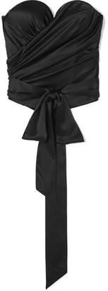 Alexandre Vauthier Draped Stretch Silk-satin Bustier Top - Black