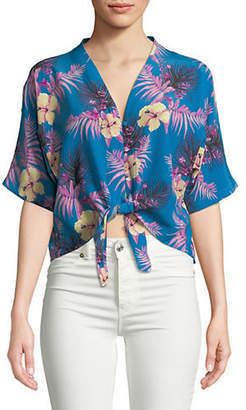 Rails Thea Hawaiian Tropic Tie-Front Silk Top