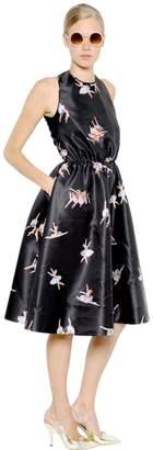 Rochas Open Back Ballerina Print Duchesse Dress