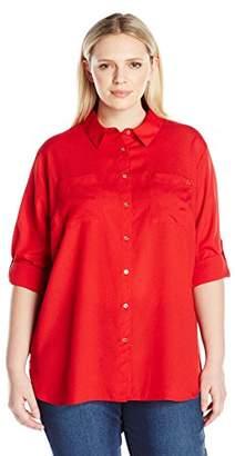 Calvin Klein Women's Plus Size Roll Sleeve Tunic