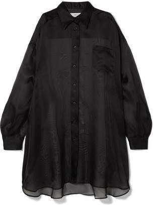 Maison Margiela Oversized Silk-organza Shirt - Black