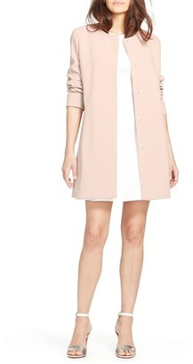 Women's Lauren Ralph Lauren Collarless Crepe Topper $200 thestylecure.com