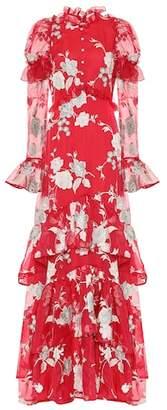 Erdem Evangeline floral-embroidered silk gown