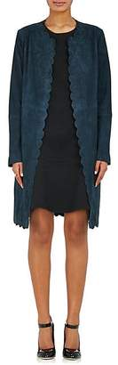 Lisa Perry WOMEN'S SCALLOPED SUEDE COAT - BLUE SIZE 2