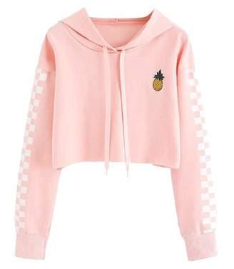LKCEN-CA Women Teen Cute Crop Top Croptop Printed Hoodie Pullover Top Sweatshirt XS