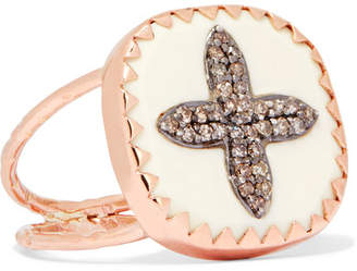 Pascale Monvoisin Bowie N°2 9-karat Rose Gold, Sterling Silver, Diamond And Bakelite Ring - 6