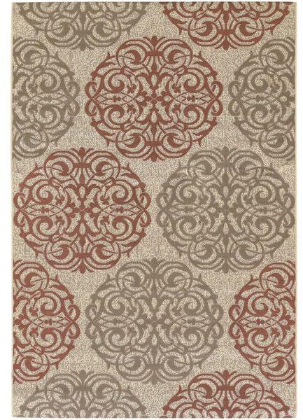 COURISTAN INC Five Seasons Montecito Cream/ Coral Red Rug (3'7 x 5'5)