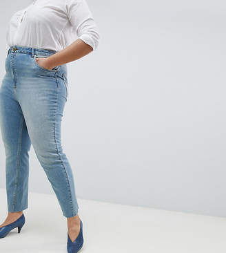 Asos Design Curve Farleigh High Waist Straight Leg Jeans In Dusty Mid Wash With Raw Hem