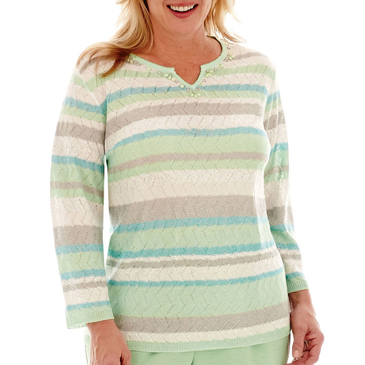 Alfred DunnerAlfred Dunner High Tea 3/4-Sleeve Sequin-Striped Sweater - Plus