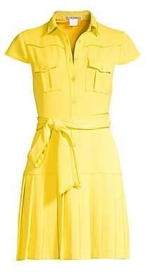 Alice + Olivia Women's Yoko Short-Sleeve Pleated Shirt Dress