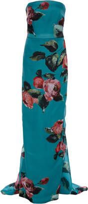 Monique Lhuillier Rose Print Strapless Column Gown