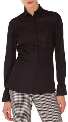 Akris Punto Long-Sleeve Eyelet-Collar Button-Down Cotton Shirt