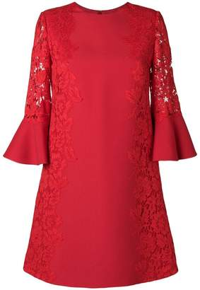 Valentino floral lace panel shift dress