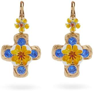 Dolce & Gabbana Flower And Crystal Embellished Cross Earrings - Womens - Yellow