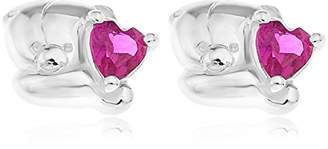 Forever Friends Bear Sterling Silver and Pink CZ Stud Earrings