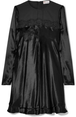 RED Valentino Lace-trimmed Velvet Mini Dress - Black