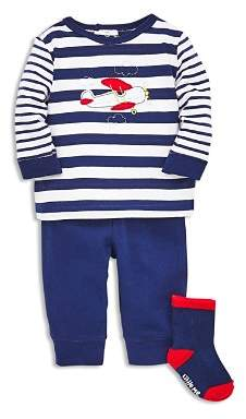 Little Me Boys' Airplane Long Sleeve Tee, Jogger Pants & Socks Set - Baby