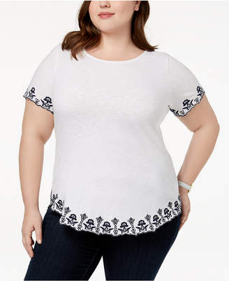 Charter Club Plus Size Cotton Embroidered T-Shirt