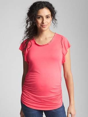 Gap Maternity Ruffle Trim Crewneck T-Shirt