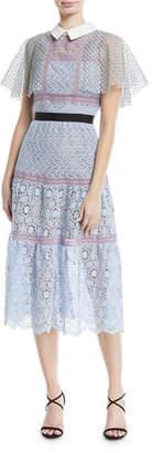 Self-Portrait Floral-Lace Guipure Lace Cape Midi Cocktail Dress