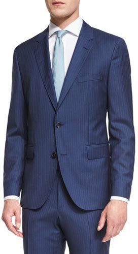Hugo BossBoss Hugo Boss Johnstons Lennon Striped Slim-Fit Basic Suit, Blue