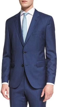 BOSS Johnstons Lennon Striped Slim-Fit Basic Suit, Blue $895 thestylecure.com