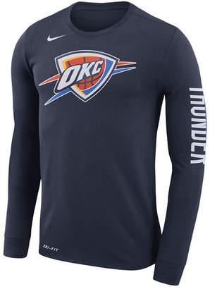 Nike Men's Oklahoma City Thunder Dri-fit Cotton Logo Long Sleeve T-Shirt