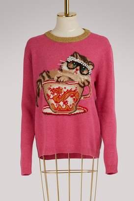 Gucci Cat & Glasses knit sweater