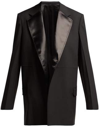 Helmut Lang Satin Panelled Wool Blend Tuxedo Jacket - Womens - Black