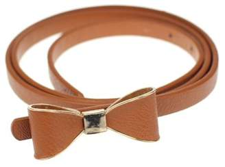 BEIGE Iuhan Candy Leather Women Skinny Butterfly Bow Waist Belt Waistband BR