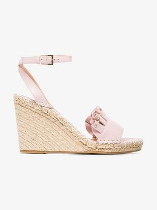 Valentino pink ruffle wedge leather sandals