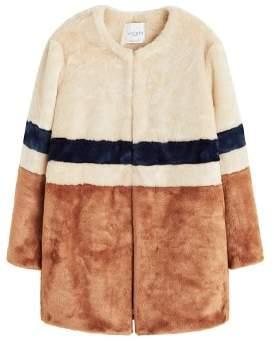 Violeta BY MANGO Tricolor faux fur coat