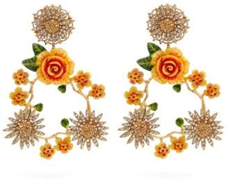 Dolce & Gabbana Crystal Embellished Floral Clip On Earrings - Womens - Orange
