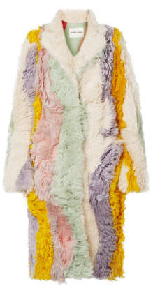Sandy Liang - Patch Oversized Striped Shearling Coat - Cream