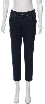 Blumarine Embroidered Skinny-Leg Mid-Rise Jeans