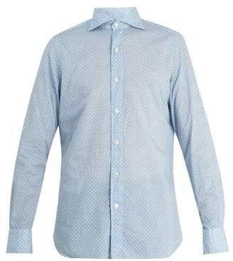 Finamore 1925 - Gaeta Spread Collar Floral Print Cotton Shirt - Mens - Blue White