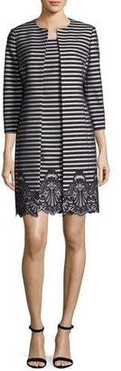 Albert Nipon Striped A-Line Dress w/ Matching Jacket $450 thestylecure.com