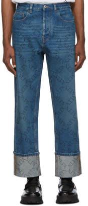 Valentino Blue Grid Logo Cuffed Jeans