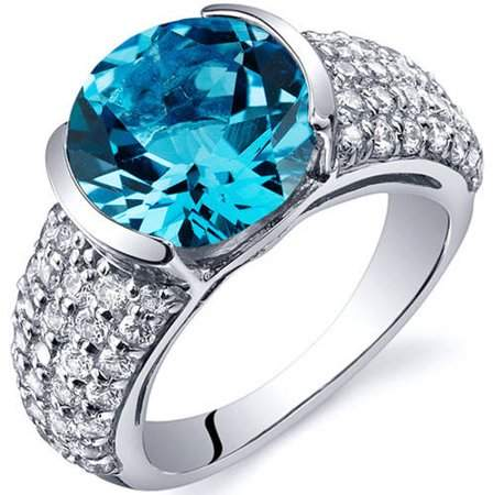 Oravo 4.00 Carat T.G.W. Swiss Blue Topaz Rhodium-Plated Sterling Silver Engagement Ring