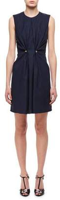 Carven Jewel-Neck Ruched Dress W/ Studs, Navy