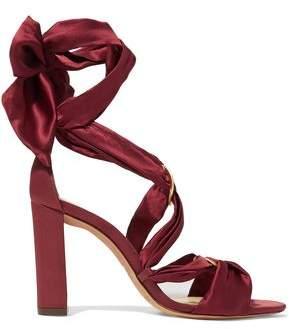 Alexandre Birman Lace-Up Satin Sandals
