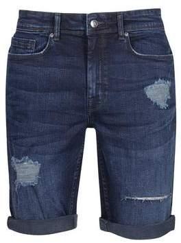 Burton Mens Indigo Overdye Rip and Repair Denim Shorts