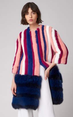 Carolina Herrera Striped Mink Fur Coat