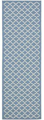 Safavieh Courtyard Collection CY6919-243 Blue and Beige Indoor/Outdoor Runner, 2-Feet 3-Inch by 20-Feet