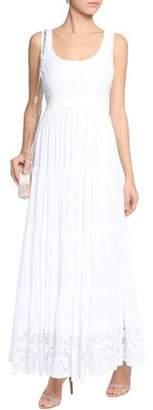 Alice + Olivia Lace-Paneled Gathered Voile Maxi Dress