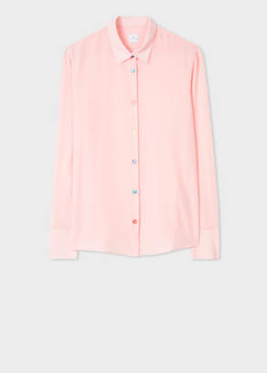 Paul Smith Women's Light Pink Silk Shirt With Multi-Coloured Button Placket